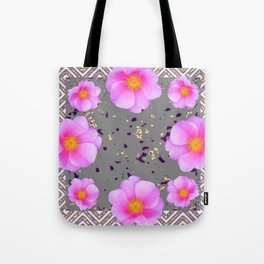 Fuchsia Pink Roses on Grey Color Pattern Floral Art, Tote Bag