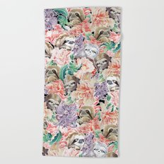 Because Sloths Watercolor Beach Towel