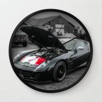 sports Wall Clocks featuring Sports car by john nicholson