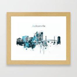Jacksonville Monochrome Blue Skyline Framed Art Print