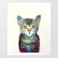 dude Art Prints featuring Cat // Aware by Amy Hamilton