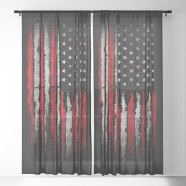 Red & white Grunge American flag Sheer Curtain