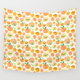 Watercolor Peaches Pattern Wall Tapestry
