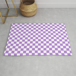 White and Lavender Violet Checkerboard Rug