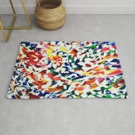 Bright Fun Artistic Blue Red Yellow Abstract Paint Art Rug