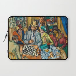 Chess Players, Paris, France, French Cafes, Left Bank, 1913 by Henryk Hayden Laptop Sleeve