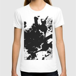 Black and white splat - Abstract, black paint splatter painting T-shirt