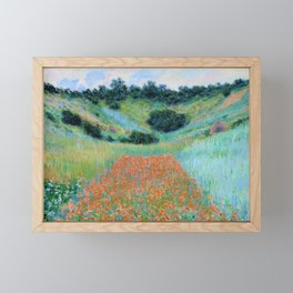 Claude Monet - Poppy Field in a Hollow near Giverny - Digital Remastered Edition Framed Mini Art Print