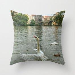 The swan dance on the Vltava river Throw Pillow