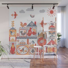 Small fairy-tale houses with cute animals and birds. Wall Mural