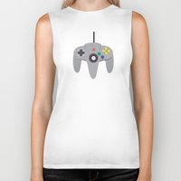 nintendo Biker Tanks featuring Nintendo 64 by labrownie