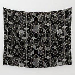 Black geometry / hexagon pattern Wall Tapestry