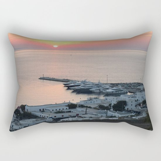 Sunset, Myconos Island, Greece Rectangular Pillow