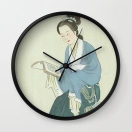 Li Wan, Chinese Painting and Calligraphy Print, Twelve Beauties of Jinling of Famous Literary Wall Clock