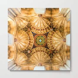Canterbury Cathedral Ceiling Metal Print