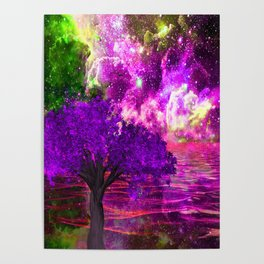NEBULA TREE OCEAN REFLECTIONS Poster