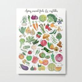 Spring seasonal fruits & vegetables watercolor illustration Metal Print