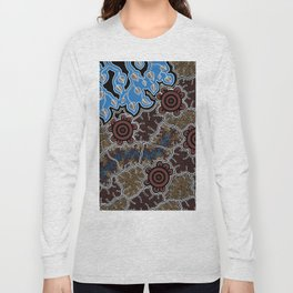 Water Lilly Dreaming - Authentic Aboriginal Art Long Sleeve T-shirt