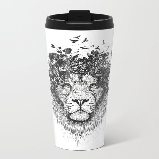 Floral lion (b&w) Metal Travel Mug
