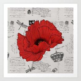 Red Poppy French Typography Art Print