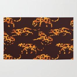 Trendy brown orange yellow modern safari leopard animal print Rug