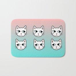 Whimsical White Cats Mint Pink Pattern Bath Mat