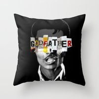 the godfather Throw Pillows featuring Godfather Mix 1 black by Marko Köppe