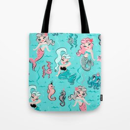 Babydoll Mermaids on Aqua Tote Bag