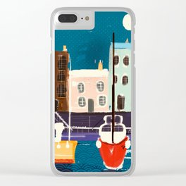 Harbor Boats In A Whimsical English Seaside Town Clear iPhone Case