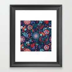 Ripe autumn – cyan and red Framed Art Print
