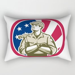 American Carpenter USA Flag Icon Rectangular Pillow