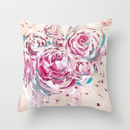 Pastel Peonies  Throw Pillow