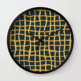 Modern Mesh Pattern in Light and Dark Mustard on Navy Blue Wall Clock