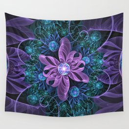 Bejeweled Butterfly Lily of Ultra-Violet Turquoise Wall Tapestry