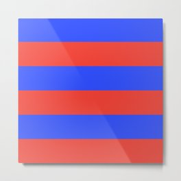 Even Horizontal Stripes, Blue and Red, XL Metal Print