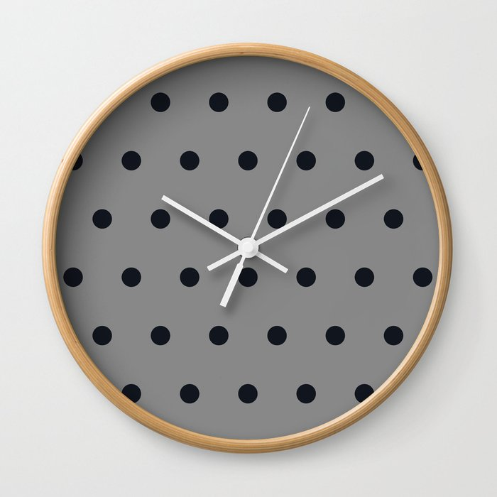 Small Black Dots On Gray Wall Clock By Juliesthingummies Society6