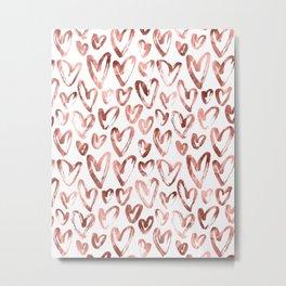 Rose Gold Pink Hearts Pattern on White Metal Print