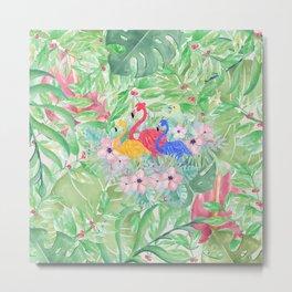 Tropical green pink watercolor colorful flamingo floral Metal Print