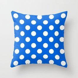 Flickr Blue - blue - White Polka Dots - Pois Pattern Throw Pillow