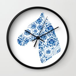 Silhouette of a beautiful horse's head with blue flowers Wall Clock