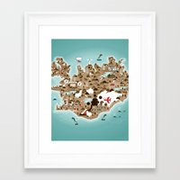 iceland Framed Art Prints featuring Iceland by Steebz