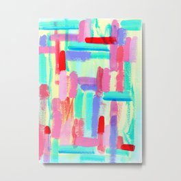 Color Me Babe - Modern Abstract Painting Bright Colors aqua turquoise Metal Print