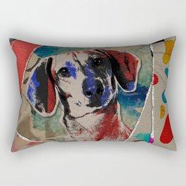 Dachshund Abstract mixed media digital art collage Rectangular Pillow
