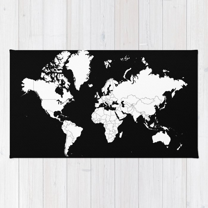 Minimalist world map white on black background rug by constantchaos minimalist world map white on black background rug gumiabroncs Images