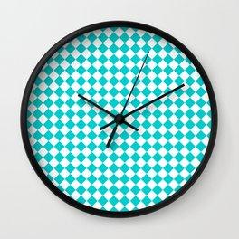 Small Diamonds - White and Cyan Wall Clock