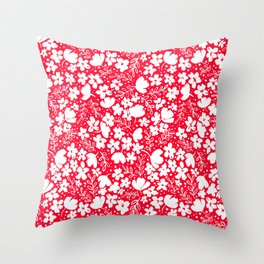 Love Blossoms Pattern White on Red Throw Pillow