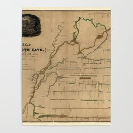 Map Of Mammoth Cave 1835 Poster