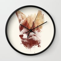 fox Wall Clocks featuring Blind fox by Robert Farkas