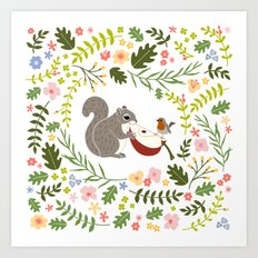 Friendship in Wildlife_Squirrel and Robin_Bg White Art Print