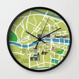 Dublin map illustrated Wall Clock